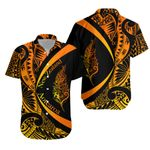 Light Silver Fern Maori Hawaiian Shirt Circle Style, Sunrise J95