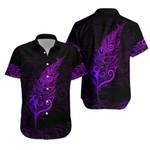 Light Silver Fern Hawaiian Shirt, Purple K5