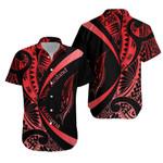 New Zealand Silver Fern Hawaiian Shirt Maori Tattoo Circle Style - Red J95