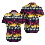 Tropical Palm Tree At Sunset With Hibiscus Flowers Hawaiian Shirt K5
