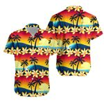 Tropical Hibiscus And Palm Tree At Sunset Hawaiian Shirt K5