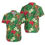 Tropical Flowers And Leaves On Leopard Hawaiian Shirt K5