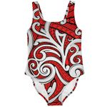 Maori Tribal Ornament Swimsuit, Red K5