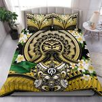 Polynesian Face Bedding Set Turtle with Plumeria Duvet Cover and Pillow Cases