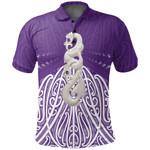 Maori Moko Tattoo, Manaia Pounamu Polo Shirt Purple K5