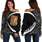 Paua Shell Maori Whakairo Women's Off Shoulder Sweater Circle Style J95