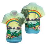 Polynesian Hawaiian Shirt Green Sea Turtle Rainbow K8
