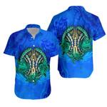 Polynesian Turtle Hawaiian Shirt Swirls Blue K4