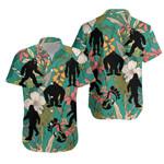 Bigfoot Hawaiian Shirt Tropical Floral K4