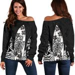 New Zealand Women's Off Shoulder Sweater Polynesian Surf