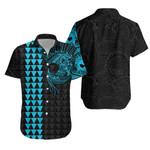 Polynesian Warrior Tattoo Lauhala Hawaiian Shirt - Light Blue A75