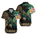 Tiki Polynesian Hawaiian Shirt Turtle Hibiscus - Gold K4