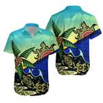 Paradise Polynesian Hawaiian Shirt Turtle Coconut Waves K4