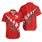 New Zealand Haka Fern Rugby Hawaiian Shirt - Red K4