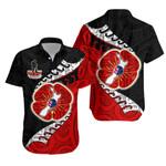 Anzac New Zealand Hawaiian Shirt - Lest We Forget Poppy Map Silver Fern NZ K4