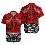 NZ Hawaiian Shirt, Red Maori Taaniko K5