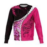 Paua Shell Maori Silver Fern Sweatshirt Pink K5