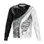 Paua Shell Maori Silver Fern Sweatshirt White K5