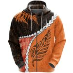 Paua Shell Maori Silver Fern Zip Hoodie, Orange K5
