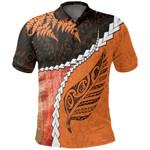 Paua Shell Maori Silver Fern Polo Shirt, Orange K5