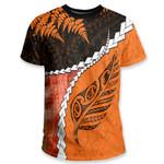 Paua Shell Maori Silver Fern T Shirt, Orange K5