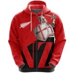 Knight Templar Zip Hoodie Maori Tattoo, Red K5