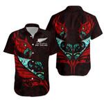 New Zealand Hawaiian Shirt Manaia Paua Fern Wing - Red K4