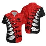 New Zealand Hawaiian Shirt Koru Fern Kiwi Black Red K4