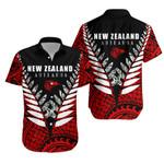 New Zealand Hawaiian Shirt Silver Fern Vline Version - Red K4