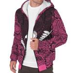 Silver Fern Kiwi Pink Sherpa Hoodie K47 - 1st New Zealand