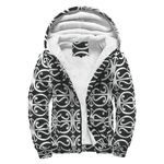 New Zealand Maori Pattern 14B Sherpa Hoodie K7 - 1st New Zealand
