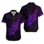 Light Silver Fern New Zealand Hawaiian Shirt, Frangipani Tattoo - Purple K5