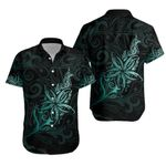 Light Silver Fern New Zealand Hawaiian Shirt, Frangipani Tattoo - Turquoise K5