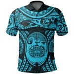 Maori Tattoo, Mini Maui Tattoo Polo Shirt, Blue K5