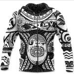 Maori Tattoo, Mini Maui Tattoo Zip Hoodie, White K5