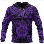 Maori Tattoo, Mini Maui Tattoo Zip Hoodie, Purple K5