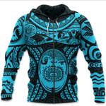 Maori Tattoo, Mini Maui Tattoo Zip Hoodie, Blue K5