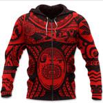 Maori Tattoo, Mini Maui Tattoo Zip Hoodie, Red K5