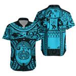 Maori Tattoo, Mini Maui Tattoo Hawaiian Shirt, Blue K5