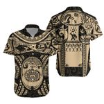 Maori Tattoo, Mini Maui Tattoo Hawaiian Shirt, Tan K5