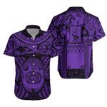 Maori Tattoo, Mini Maui Tattoo Hawaiian Shirt, Purple K5