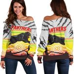 Panthers Off Shoulder Sweater Indigenous Setting Sun | Rugbylife.co