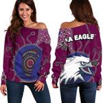 Sea Eagles Off Shoulder Sweater Aboriginal Map TH4