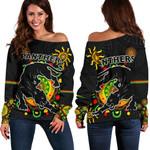 Penrith Women Off Shoulder Sweater Indigenous Panthers - Black
