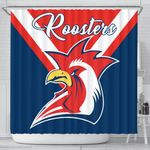Australia Roosters Shower Curtain Rugby K4