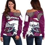 Sea Eagles Women's Off Shoulder Sweater Aboriginal