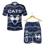 Combo Polo Shirt and Men Short Geelong Cats Indigenous - Navy