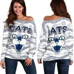 Geelong Women Off Shoulder Sweater Cats Indigenous - White