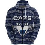 Geelong Zip Hoodie Cats Indigenous - Navy