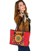 Gold Coast Small Leather Tote Suns Indigenous K8